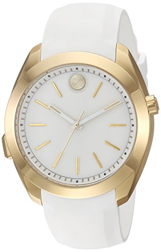Movado Women's Swiss Quartz Stainless Steel and Silicone Casual Watch, Color:White (Model: 3660006)
