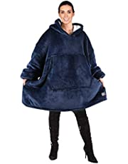 NUO Oversized Hoodie Blanket Sweatshirt, Comfortable Sherpa Giant Pullover, Suitable for Adult Men and Women Blue