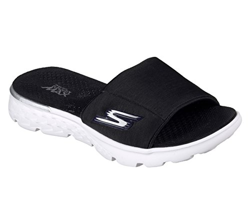 Skechers Femmes On-The-Go 400 Couverture Slip-On Sandals - Black & White