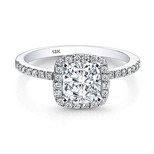 AndreAngel Engagement Wedding Ring Bridal Marriage Promise Proposal Women White Gold 18K Halo Cubic Zirconia Lab Diamond AAAAA Stone Pave Statement Princess Cut Solitaire Vintage Valentine's Size ()