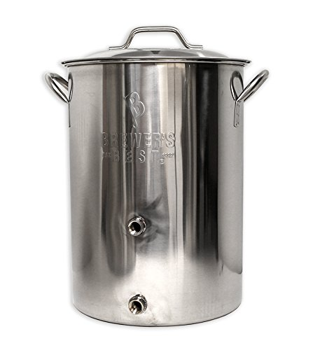 Brewer's Best Beer Brewing Boiling Pot Stainless Steel With Lid (8 Gallon Brewing Kettle w/ Two Ports) by Brewer's Best (Image #1)