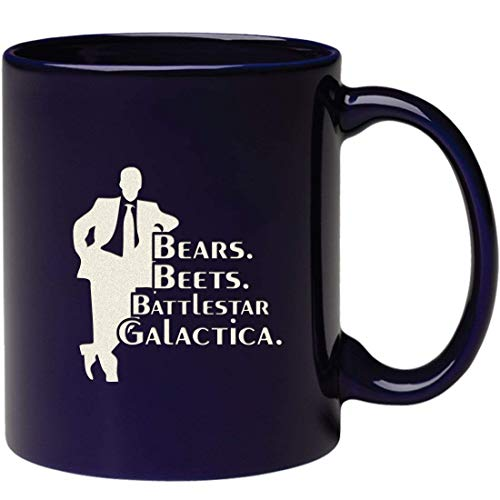 (Funny Engraved Bears Beets Battlestar Galactica Coffee Mug - Inspired By TV Show The Office Quote - Unique Etched Birthday Gift For Dwight Schrute Fans - Dunder Mifflin Christmas)