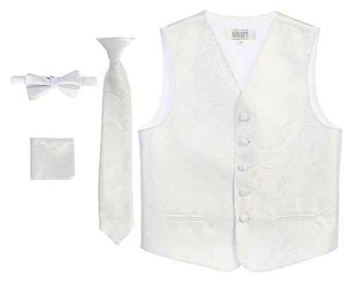 White Kids Vest - Gioberti Boy's 4 Piece Formal Paisley Vest Set, White, Size 12