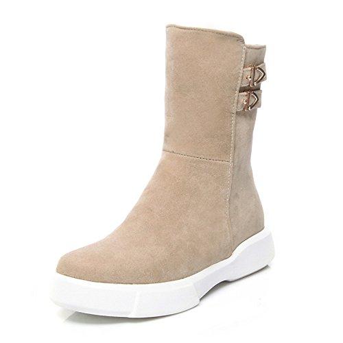 Boots Stivali stivaletti CN39 ZHZNVX Mid Black Toe Scarpe donna UK6 US8 stivaletti Calf Round Flat Bootie Fall HSXZ vello per stivali Winter Fashion Casual Stivali EU39 Snow CvqFC0Z