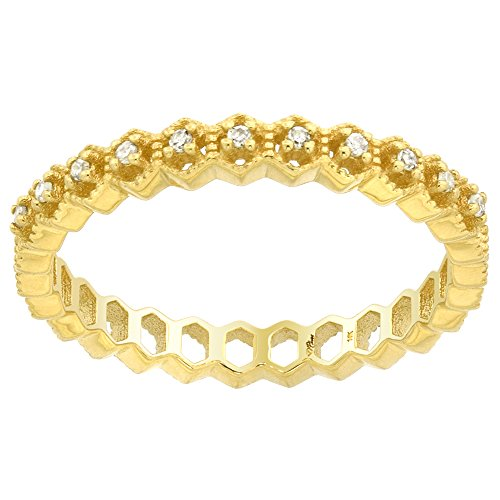 14k Yellow Gold Stackable Diamond Half Eternity Ring Wedding Band Milgrain Hexagons 1/8 inch, size 7 14k Yellow Gold Stackable