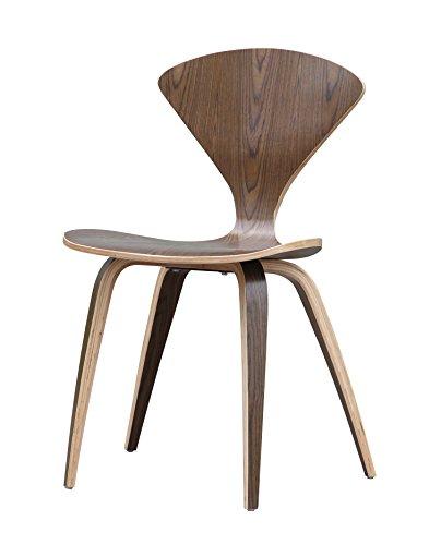 (ModHaus Mid Century Modern Norman Cherner Style Molded Bent Plywood Chair - Walnut Finish)
