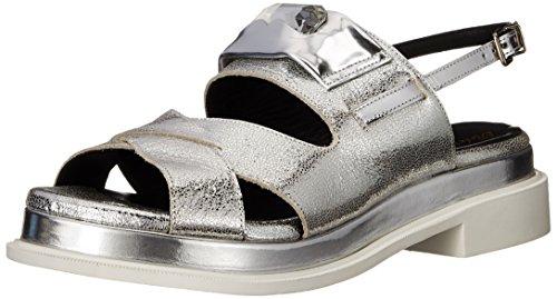 Robert Clergerie Women's Coucou Flat Sandal, Silver Metallic, 36.5 EU/6 B US