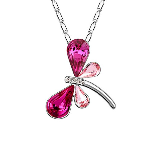 (Aysekone Fashion Charming Crystal Dragonfly Pendant Necklace Silver Plated Alloy Necklace Jewelry Allergy Free for Women Girls(Rose Red and Pink))