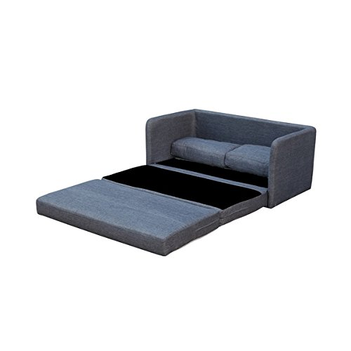 Contemporary Style Dark Grey Top Quality Polyester Fabric Solid Loveseat Sofa with Pullout Bed