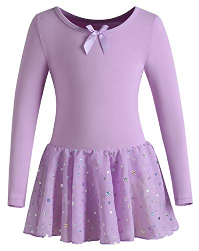 DANSHOW Girls Ballet Leotard Kids Long Sleeve Dance Leotard Dress with Glitter Tutu Skirt(8-10years,Purple)