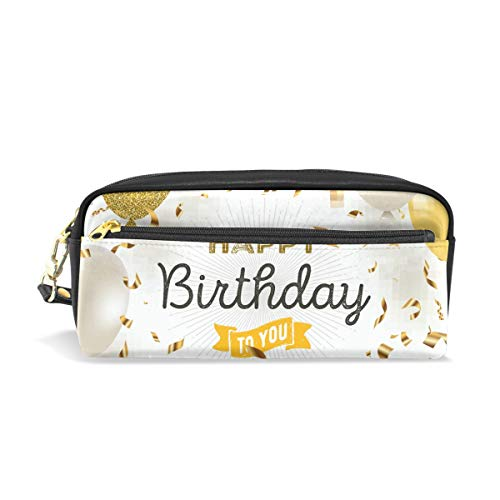(Happy Birthday to You Balloon School Pen Case Kids Pencil Holders Large Capacity Pouch Makeup Cosmetic Boxes Office Travel Bag)