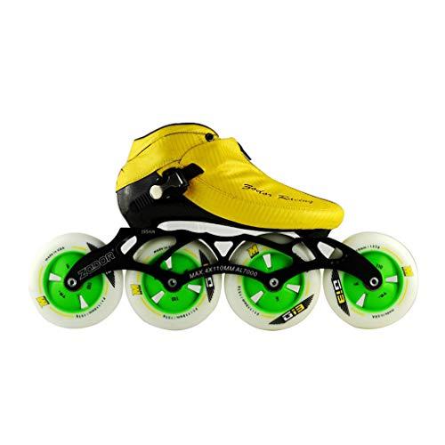 対話宗教農民ailj スピードスケート靴90MM-110MM調整可能なインラインスケート、ストレートスケート靴(3色) (色 : 青, サイズ さいず : EU 38/US 6/UK 5/JP 24cm)