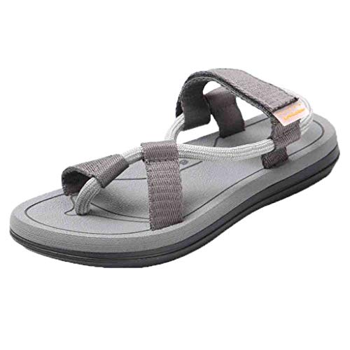 Womens Open Toe Beach Sandals Rome Slippers,Casual Slip-On Breathable Flats Double Straps Sandals Shoes Size 5-7.5 (Dark Gray, US:7)