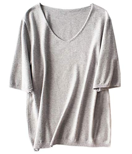 (Women's Cashmere Blend Half Short Sleeves V Neck T Shirt Tee Casual Slim Fit Blouse Tops, Grey, Tag 6XL = US XXL)
