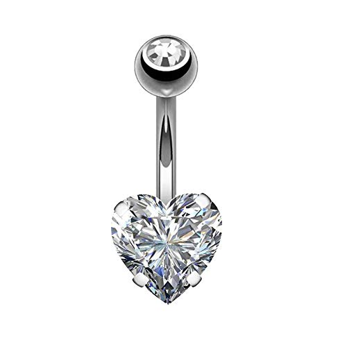 - 1 PCS Crystal Steel Body Piercing Natural Belly Button Rings Jeweled Flower Dangle Navel Ring Jewelry Belly Rings silver