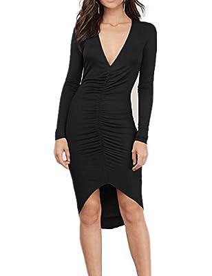 Haola Women's Deep V Neck Long Sleeve Sexy Stretchy Bodycon Dresses Party Warm Dress