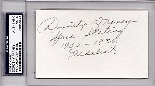 Dorothy Franey Autographed Signed Olympic Speed Skater 3x5 Index Card with inscription - 1932 and 1936 Medalist - Deceased 2011 - PSA/DNA Authenticity (COA) - PSA Slabbed Holder from Sports Collectibles Online
