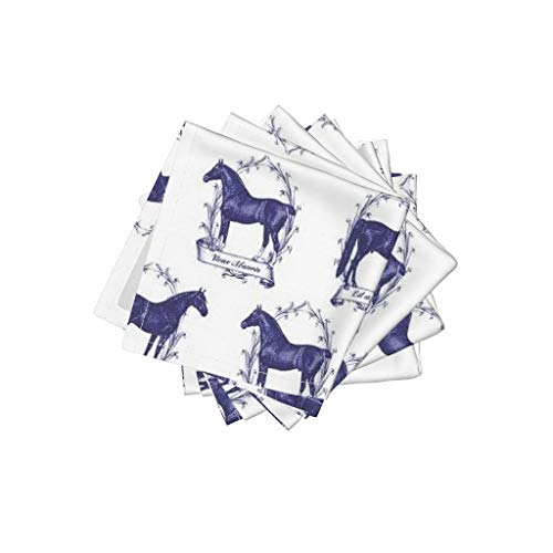 Roostery Horse Organic Cotton Sateen Cloth Cocktail Napkins - Pony Equestrian Toile by Ragan (Set of 4) 10 x 10in