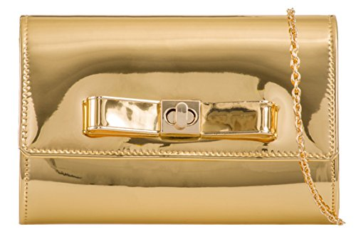 Bag Clutch Gold Girly Patent Bow HandBags Girly HandBags a1fqF8Yf