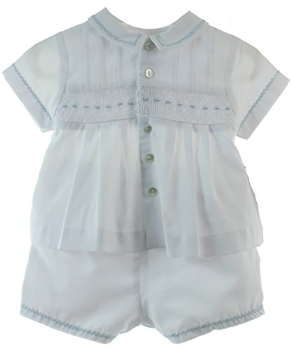 Newborn Boys Take Home Outfit White Blue Smocked Diaper Set | Sarah Louise Layette by Sarah Louise