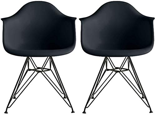 2xhome - Set of Two 2 Black Contemporary Mid Century Modern Plastic Style Armchair with Black Eiffel Wire Legs Dining Chair Molded Plastic Arms Chair Wire Base for Kitchen Dining Living Room -
