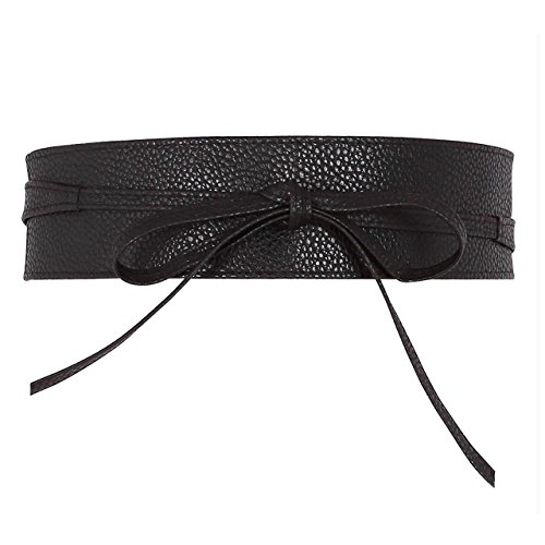 Ayliss Women Soft Leather Obi Belt Self Tie Wrap Cinch Belt,Black (Leather Waist Cinch Belt)