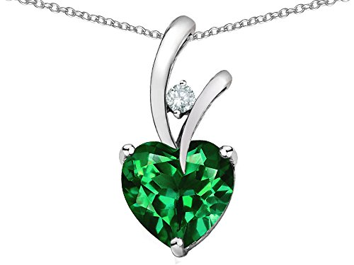 Star K Heart Shape 8mm Simulated Emerald Endless Love Pendant Necklace Sterling - Gold Shape Star Stones