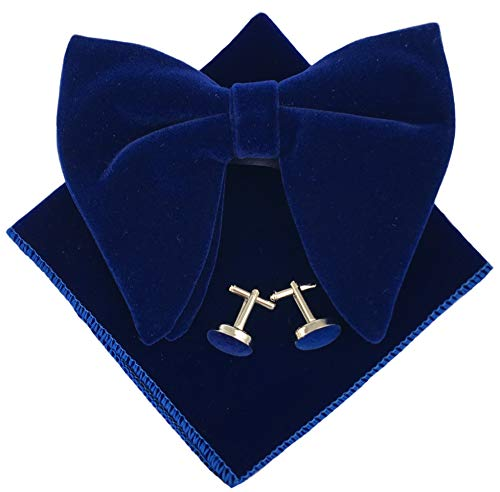 Mens Pre-Tied Oversized Bow Tie Tuxedo Velvet Bowtie Cufflinks Hankie Combo Sets (Navy Blue)