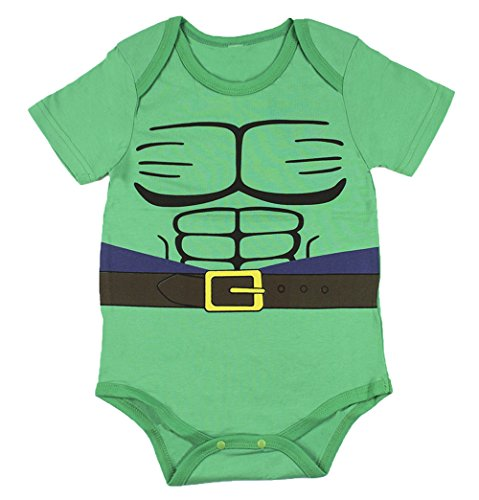 StylesILove Super Hero Inspired Short Sleeved Costume Baby Bodysuit (80/6-12 Months, Hulk)
