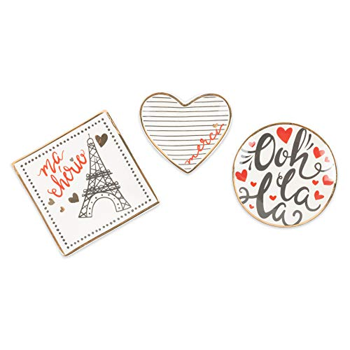 (DII CAMZ11095 Small Decorative Ceramic Catchall Jewelry Dish Tray, Set of 3, Perfect for Rings, Bracelets, Earrings, Keys, Bobby Pins, and Trinkets, I Love Paris)