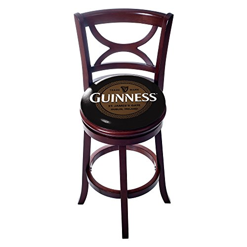 (Trademark Gameroom GN1110-KNOT Guinness Swivel Wood bar Stool with Back - Knotwork)