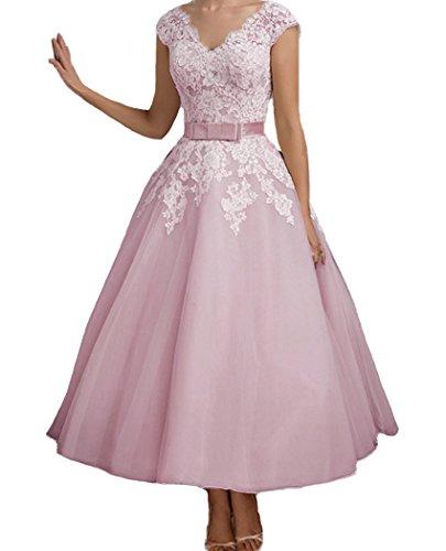 a3cc33ffb4a3 QiJunGe Women's Ankle Length V Neck Bridal Gowns Elegant Wedding Dresses  Pink US 22W