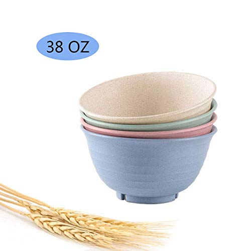 - Unbreakable Cereal Bowls, Wheat Straw Fiber Lightweight Degradable Bow Microwave Safe Plastic Bow, 4 Pieces (Large)