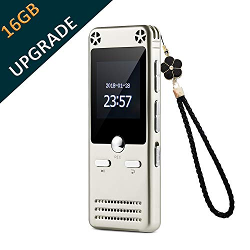 16GB Portable Audio Recorder IIDA Voice Activated Sound Recorder with FM Radio/MP3 Player/USB Flash Drive/Passward/Line-in/Playback/A-B Repeat Recording Device for lectures/Meeting/Interview/Speech