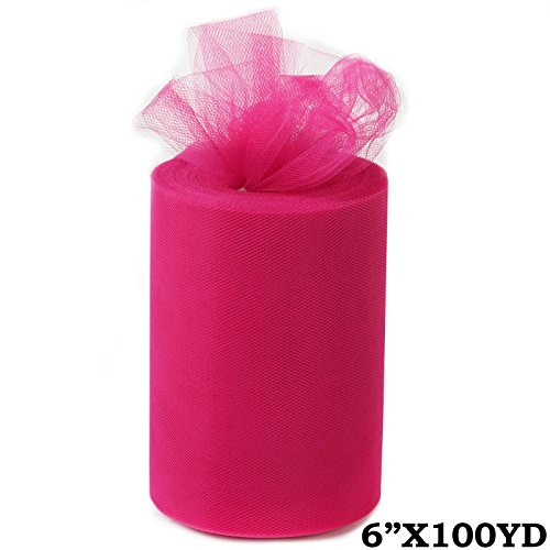 BalsaCircle 6-Inch x 300 feet Fuchsia Net Tulle Fabric Ribbon by The Roll - Wedding Party Favors Decorations DIY Crafts Sewing ()