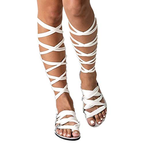 - Women Gladiator Sandals Flat,Summer Strappy Lace Up Open Toe Knee High Flat Sandal (White2, US:8.0)