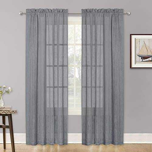 Linen French Design (RYB HOME Textured Sheer Window Curtains for Bedroom, Linen Fabric with Pole Top Design Country Rustic Window Curtains for Village, Grey, 52 Width by 84 Length - per Panel, 2 Pcs)