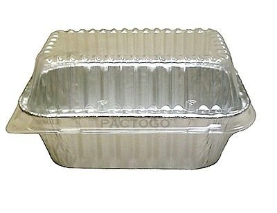 Durable Packaging 1 lb. Aluminum Foil Mini-Loaf Pan w/Clear Dome Lid – Disposable Containers (pack of 25)