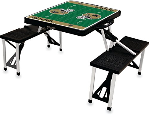 NFL New Orleans Saints Football Field Design Portable Folding Table/Seats, Black