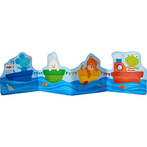 HABA Baby Bath Book Ahoy Animal Sailors! - Fanfold Style with 8 Pages Floats Upright in The Bath or Kiddie Pool