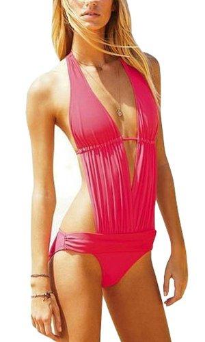 SZ New Womens Sexy Deep V Swimwear Monokini Bikini One Piece Halter