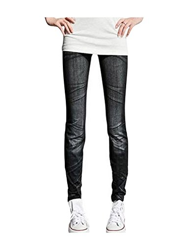 Letuwj Femme imprim Gris 2 Fonc dessin Jeans avec qPfrwnFvq