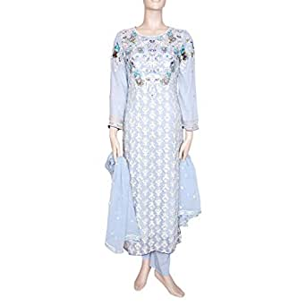 Shabnam Blue Casual Kameez & Salwar Set For Women