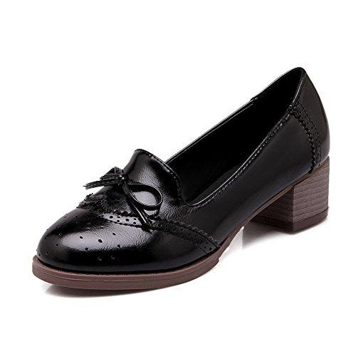 Amoonyfashion Dames Pu Kitten Hakken Rond Gesloten Teen Massief Pull-on Pumps-schoenen, Zwart, 37