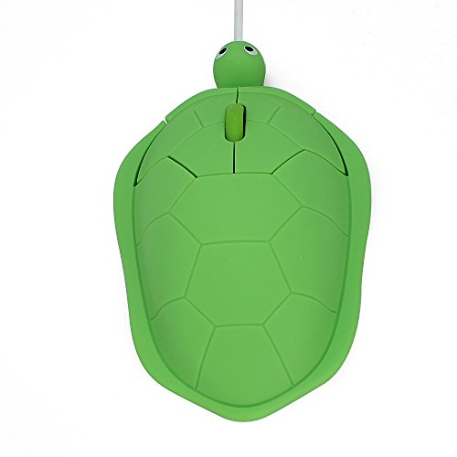 DIGIBLUSKY USB Wired Mouse Creative 3D Cute Animal Turtle Shaped Optical Mice Corded Kids Mini Mouse for PC Laptop Computer (Green)