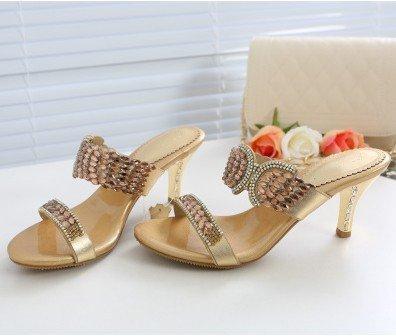 ZYUSHIZ L'été en plein air sandales pantoufles Mme Plage étanche Loisirs Version coréenne de diamants synthétiques,Gold 6.8Cm,38EU