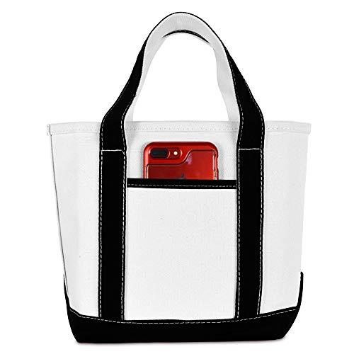 DALIX 14 Mini Small Cotton Canvas Party Favor Wedding Gift Tote Bag in Black