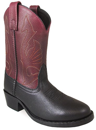 (Smoky Mountain Youths' Cisco Pull On Two-Tone Leather Round Toe Black/Plum Western Boots 5M)