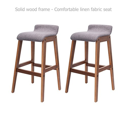 Modern Classic Bentwood Bar Stools Solid Wood Frame Unique Linen Fabrics Seat Counter Height Pub Kitchen Dining Chair - Set of 2 Grey #1528 by Koonlert@Shop