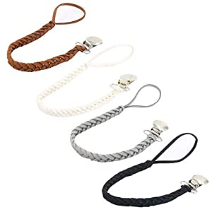 YUENA CARE 4pcs Teething Dummy Clip Holder Baby Pacifier Clip Chains for Girls Boys Faux Leather Braided Leash and Alloy…